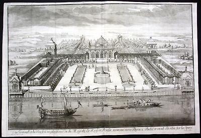 1705 Schloss Monbijou Berlin Panorama Ansicht Kupferstich antique print Göthe