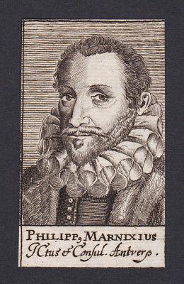 17. Jh. - Philipp von Marnix / statesman professor Leiden Portrait Kupferstich