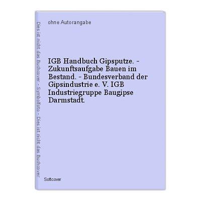 IGB Handbuch Gipsputze. - Zukunftsaufgabe Bauen im Bestand. - Bundesverband der