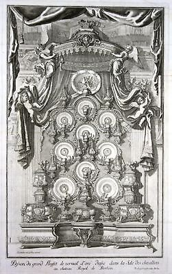 1705 Berliner Schloss Berlin Rittersaal Prunkbuffet Kupferstich antique print