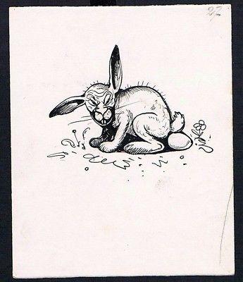 eugen von baumgarten m nchen zeichnung karikatur monster ostern osterhase hase nr k 12382. Black Bedroom Furniture Sets. Home Design Ideas