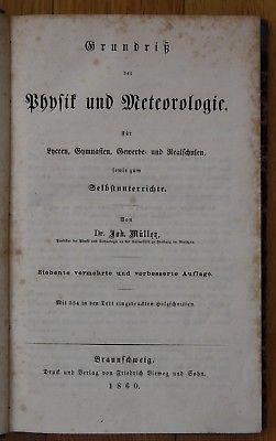 1860 Müller Physik Meteorologie Grundriß Mathematik 2 Bände