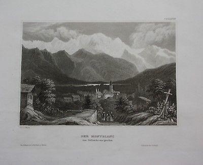 1840 - Mont Blanc Sallenche Frankreich Italien gravure engraving Stahlstich