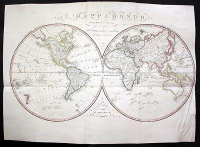 1820 - Weltkarte World Map Karte Bordiga