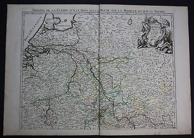 1744 Rhein Rheinlauf Holland Luxemburg Deutschland Karte Le Rouge map Rhine wall 0