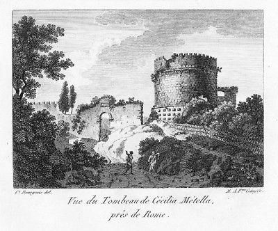 1804 - Mausoleo di Cecilia Metella incisione Bourgeois acquaforte veduta