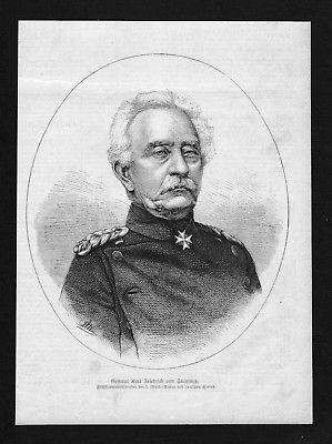 1870 - Karl Friedrich von Steinmetz General wood engraving Holzstich Portrait