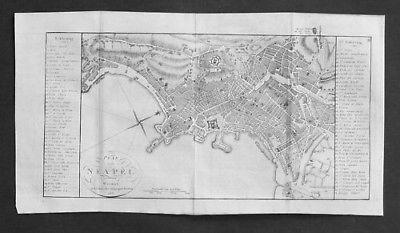1807 - Napoli Plan Italia incisione acquaforte carta veduta Italy