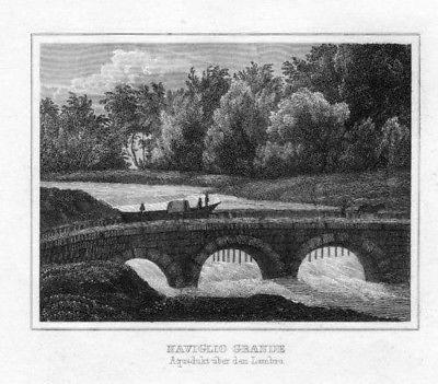1840 - Naviglio Grande Milano Italia Stahlstich acquaforte Italy veduta