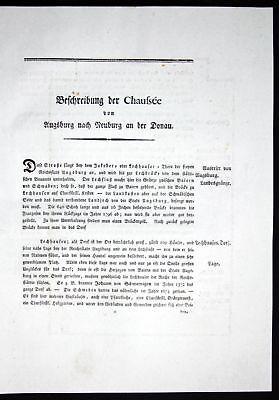 1796 Beschreibung Textblätter Karte Augsburg Neuburg Donau Atlas Bayern Riedl