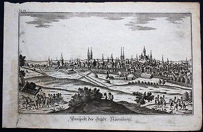1780 - Nürnberg Panorama Gesamtansicht Kupferstich Eder Sommer 0