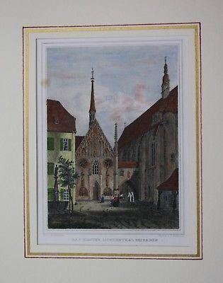 1850 - Lichtental Kloster kolorierter Stahlstich Passepartout