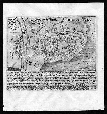 1740 - Philippsburg am Rhein / Plan / Kupferstich / engraving map Karte