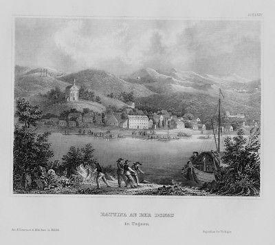1840 - Batina Donau Ufer Boot Fischer Kroatien Croatia engraving Stahlstich
