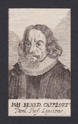 17 Jh Johann Benedikt Carpzov I theologian Theologe Leipzig Portrait Kupferstich