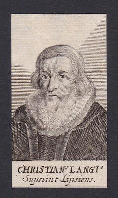17 Jh Johann Christian Lange / theologian Theologe Leipzig Portrait Kupferstich