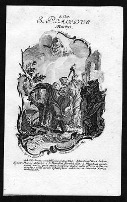 1750 Placidus Märtyrer 5. Oktober Kupferstich Heiliger Heiligenbild Holy Card