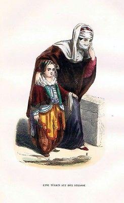 1845 - Turkey Türkei Bettler Trachten Holzstich costumes antique print