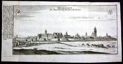 Darmstadt - Gesamtansicht - Panorama - Kupferstich Bodenehr Bodenehr, Gabriel: