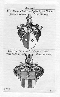 Buchbach Hohenbuchbach Binabiburg Püttner Reitzenstein Wappen Kupferstich
