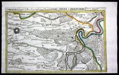 Landau Speyer Philippsburg Germersheim Karte - Kupferstich Bodenehr Bodenehr, Ga