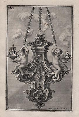 Chandelier Leuchter candles Kerzen silver silversmith design baroque Kupferstich