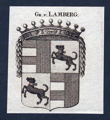 1820 Lamberg Wappen Adel coat of arms heraldry Heraldik Kupferstich engra 143352