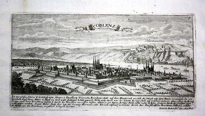 Koblenz / Rhein - Gesamtansicht - Kupferstich Bodenehr Bodenehr, Gabriel: