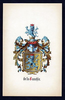 19. Jh De la Cauchie Wappen coat of arms Heraldik heraldry Manuskript manuscript