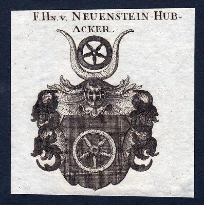 1820 Neuenstein Hubacker Wappen Adel coat of arms Heraldik Kupferstich engraving