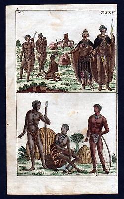 1790 Hottentotten Hottentots Tracht costume Kupferstich engraving antique print
