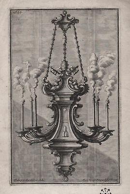 Chandelier Kerzen Leuchter candles silver silversmith design baroque Kupferstich