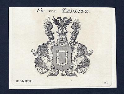 Ca. 1820 Zedlitz Wappen Adel coat of arms Kupferstich antique print heral 133756