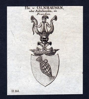 Olnhausen Aalnhausen Franken Wappen Adel coat of arms Kupferstich engraving