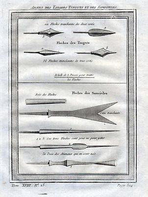 1750 Tartary Tatarei Sibirien Siberia Waffen weapons Kupferstich antique print