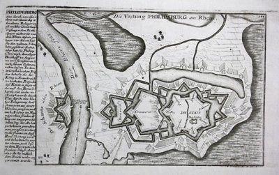 Philippsburg am Rhein - Festungsplan - Kupferstich Bodenehr Bodenehr, Gabriel: