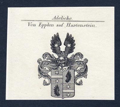 Ca. 1820 Epplen Hartenstein Wappen Adel coat of arms Kupferstich antique print