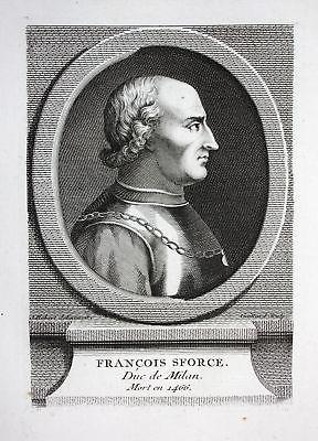 18. Jh. Francesco Sforza Duc Milan Mailand Milano Italien Kupferstich Portrait