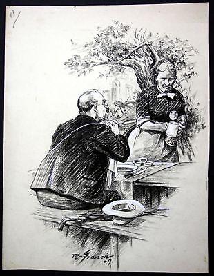 1909 Zeichnung München signiert Franck Biergarten Bayern Wirtshaus Bierkrug