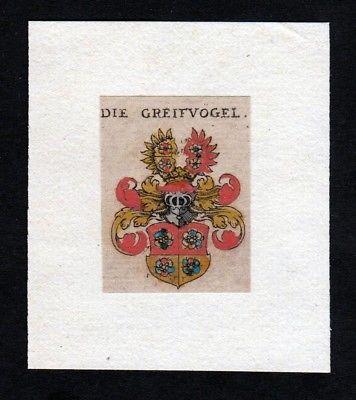 17. Jh. von Greifvogel Wappen coat of arms heraldry Heraldik Kupferstich