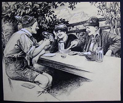 1912 Zeichnung München signiert Franck Biergarten Bayern Gasthaus Tracht