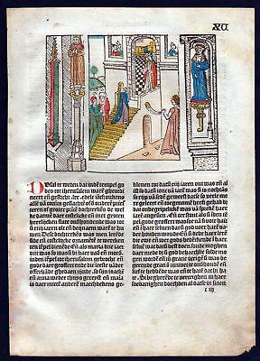 1499 Blatt XV Inkunabel Vita Christi Zwolle Holzschnitt woodcut incunable Dutch