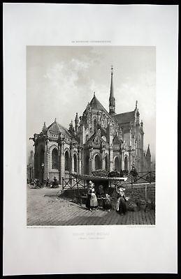 1860 - Place Royale Brunnen Nantes Bretagne Frankreich France Lithographie