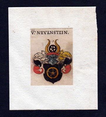 17. Jh Neuenstein Wappen coat of arms heraldry Heraldik Kupferstich