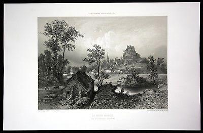 Ca. 1860 La Roche Maurice Ansicht vue Bretagne Frankreich France Lithographie