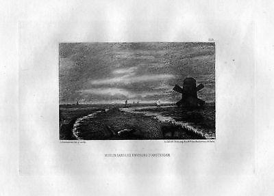 Ca. 1870 Leopold Lowenstam Moulins Amsterdam eau forte gravure etching Radierung