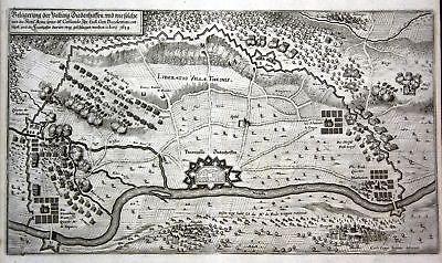 Ca. 1645 Thionville siege bataille gravure plan Kupferstich antique print Merian