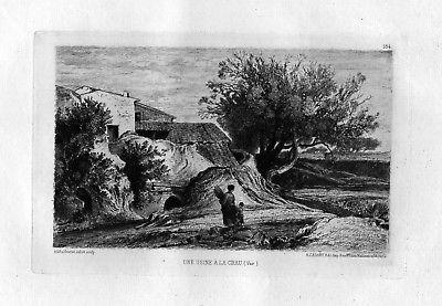 1870 Adolphe Paul Emile Balfourier Crau Var eau forte gravure etching Radierung