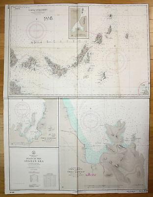 1967 Mediterranean Sea Greece Plans in the Aegean Sea Griechenland map