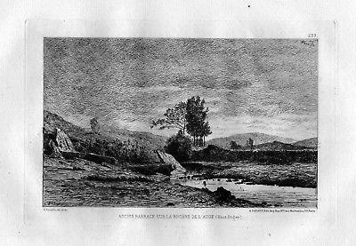 1870 Horace Antoine Fonville Auge Haut Bugey eau forte gravure etching Radierung